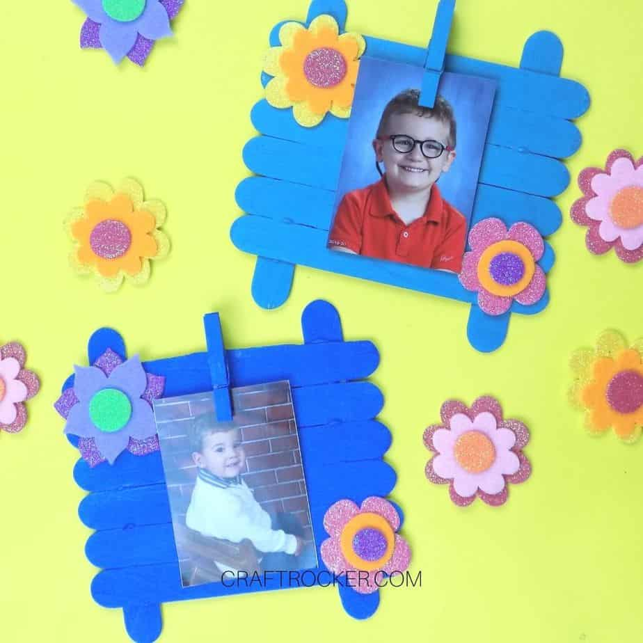 Adorable Floral Craft Stick Photo Frames - Craft Rocker