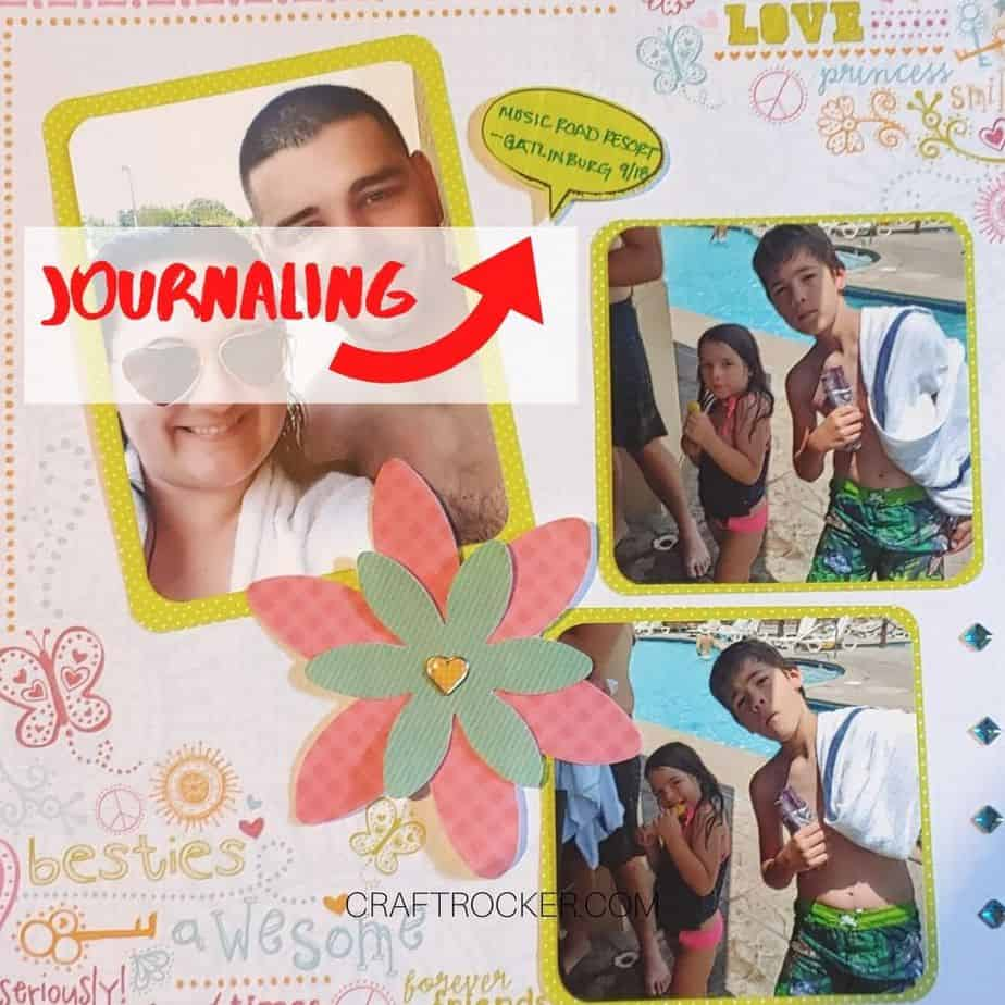 Arrow Pointing to Embellishment on Page with the text Journaling over it - Craft Rocker