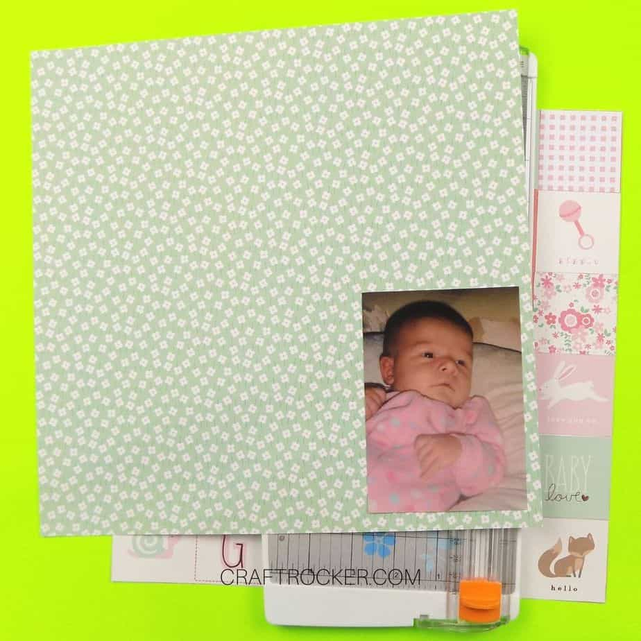 Baby Photo Attached to Right Bottom Corner of Matting Paper - Craft Rocker
