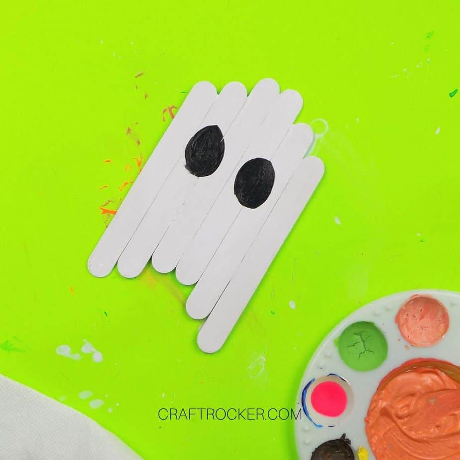 Black Eyes Painted on Popsicle Stick Ghost - Craft Rocker