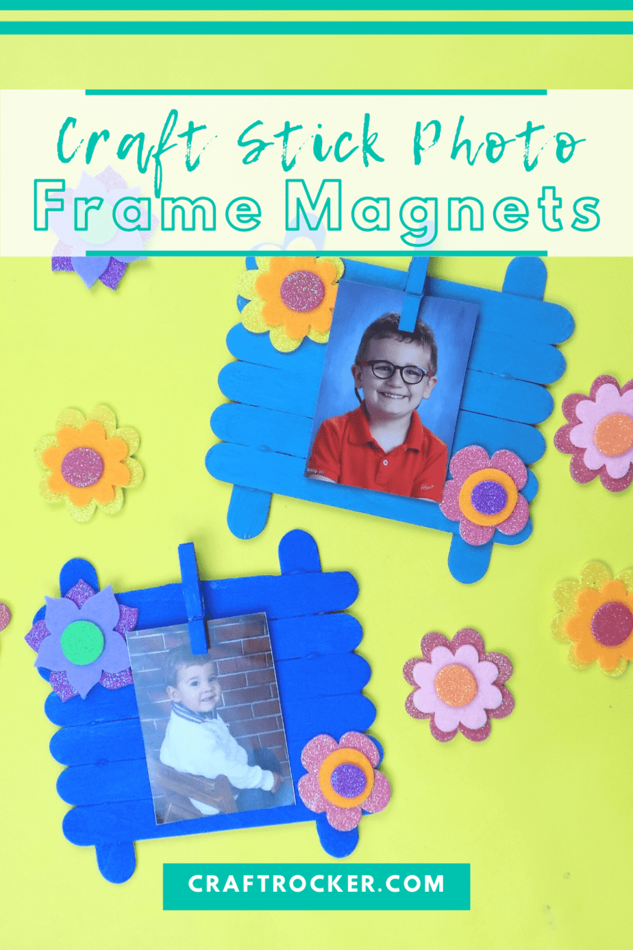 Blue Floral Craft Stick Frames with text overlay - Craft Stick Photo Frame Magnets - Craft Rocker