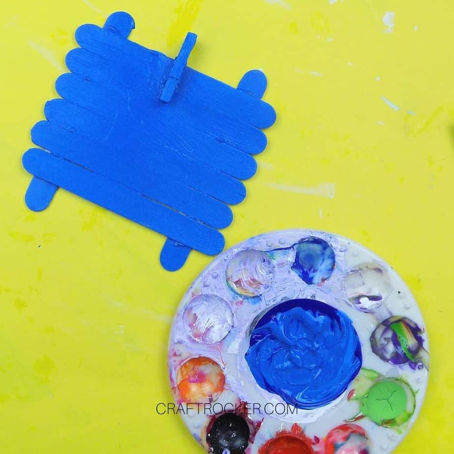 Blue Painted Craft Stick Frame next to Paint Pallet - Craft Rocker