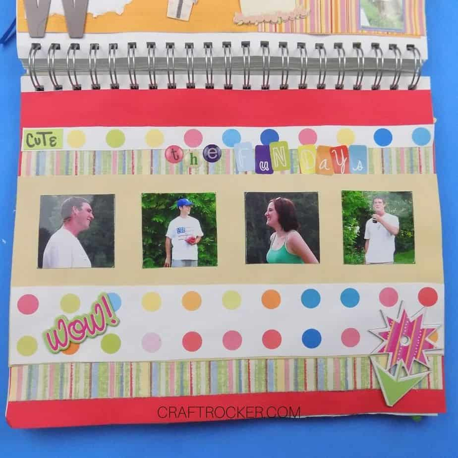 Circles and Stripes Page in Spiral Bound Scrapbook - Craft Rocker
