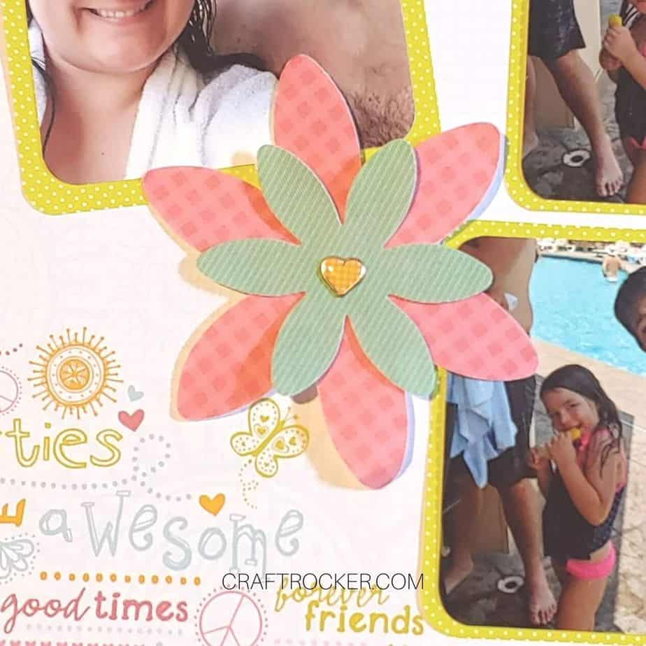 Close Up of Flower with Heart Brad on Scrapbook Page - Craft Rocker
