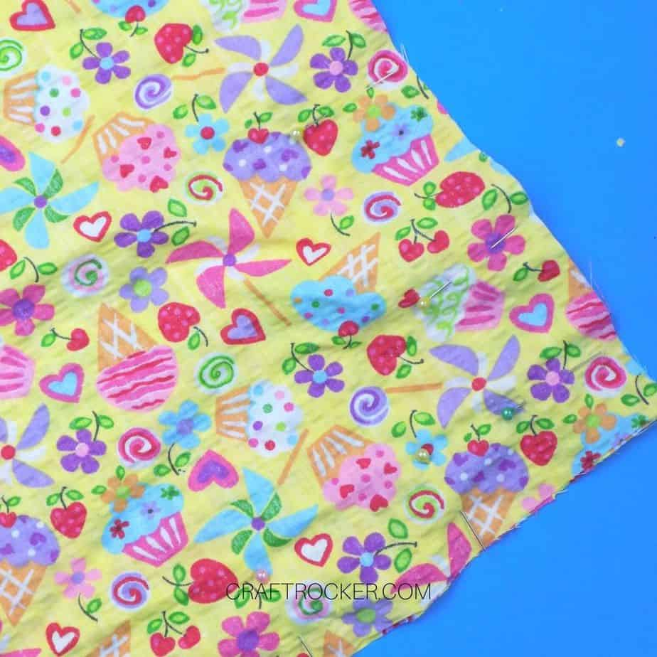 Close Up of Pinned Fabric Corner - Craft Rocker