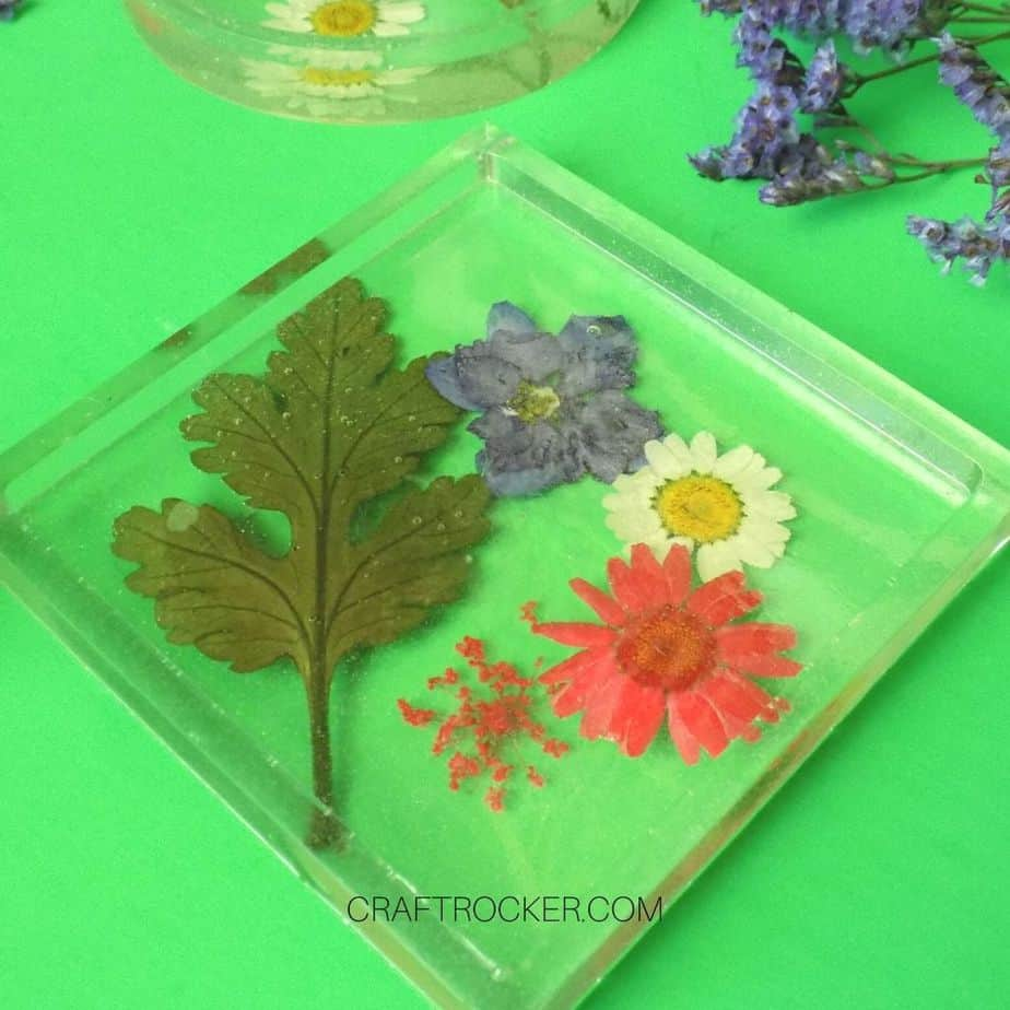 Close Up of Square Pressed Flower Resin Coaster - Craft Rocker (1)
