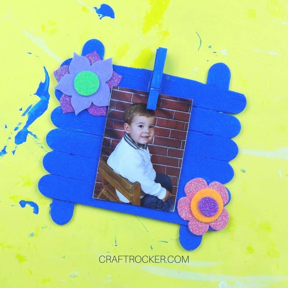 Close up of Blue Craft Stick Photo Frame - Craft Rocker