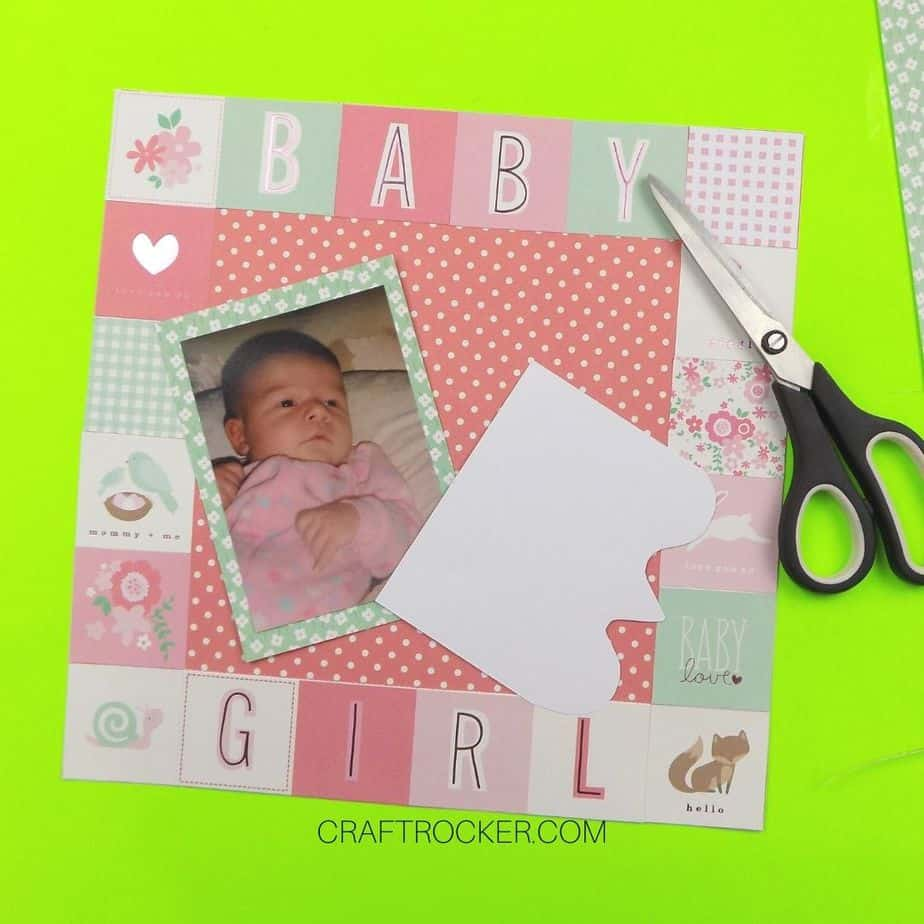Decorative Cut Piece of Paper on Top of Scrapbook Page - Craft Rocker