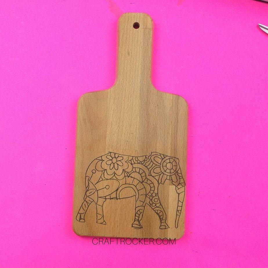 Elephant Design on Wood Cutting Board - Craft Rocker
