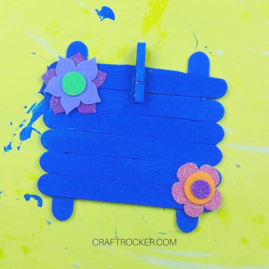 Felt Flower Stickers on Blue Painted Craft Stick Frame - Craft Rocker