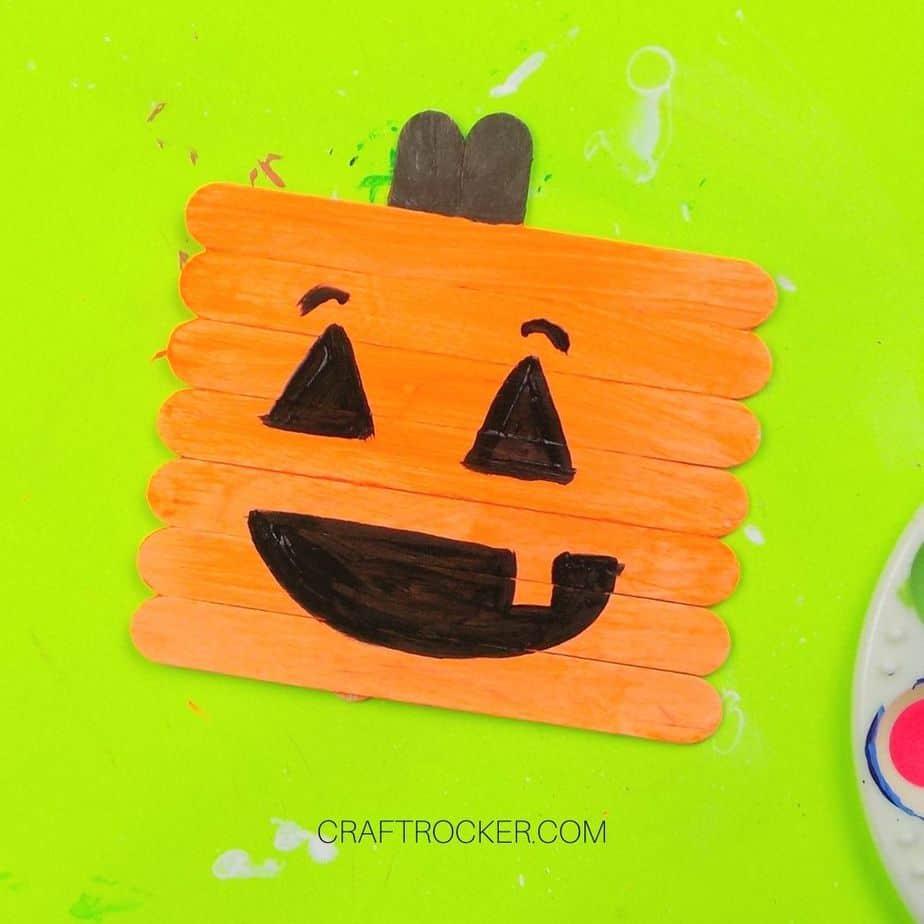 Finished Painted Popsicle Stick Jack-o-Lantern - Craft Rocker