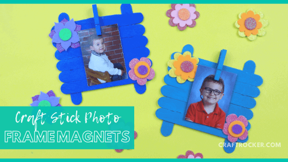 Floral Blue Craft Stick Frames with text overlay - Craft Stick Photo Frame Magnets - Craft Rocker