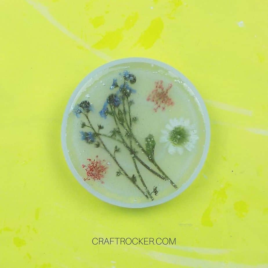 Flowers Covered in Resin inside Coaster Mold - Craft Rocker