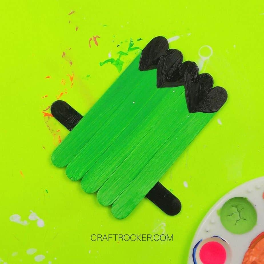 Hair and Bolts Painted Black on Popsicle Stick Frankie - Craft Rocker