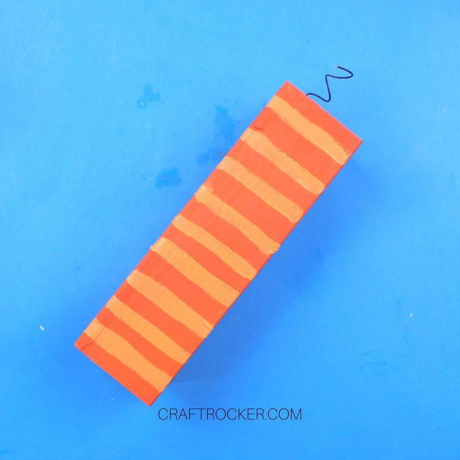 Large Orange Wood Pillar with Light Orange Horizontal Lines - Craft Rocker