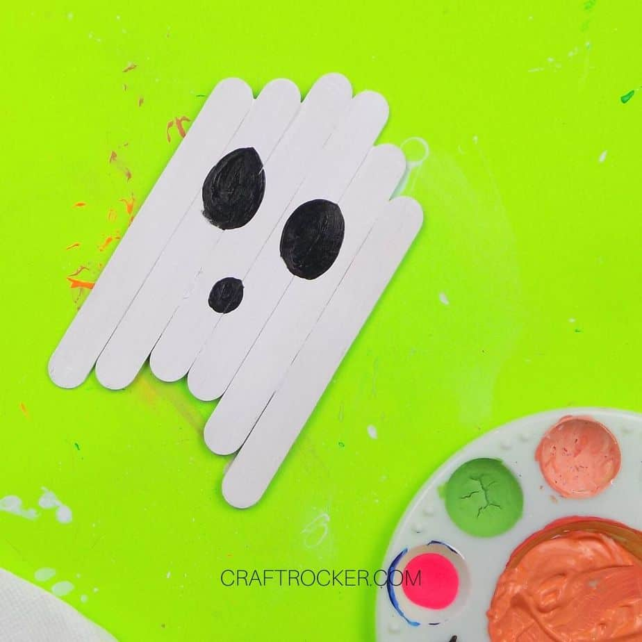 Mouth and Eyes Painted on Popsicle Stick Ghost - Craft Rocker