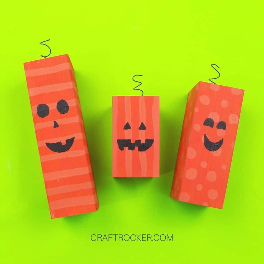 Orange Painted Wood Pumpkins - Craft Rocker