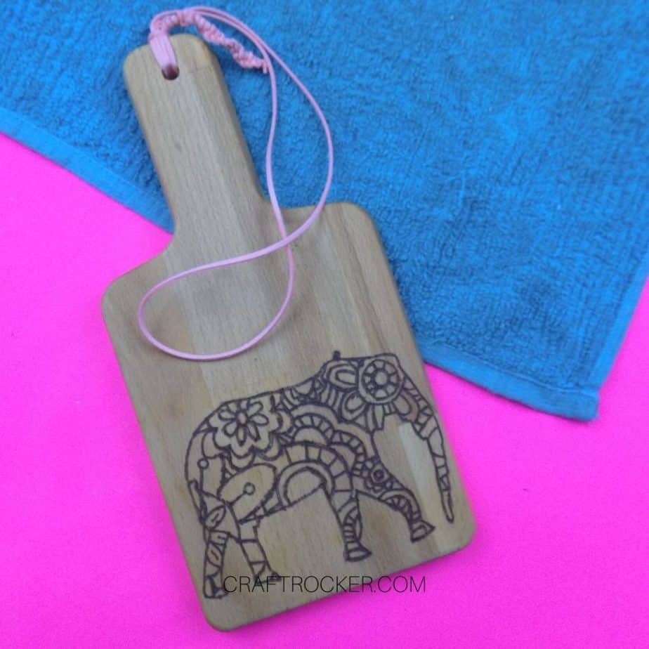 Overhead View of Elephant Wood Burned Cutting Board - Craft Rocker