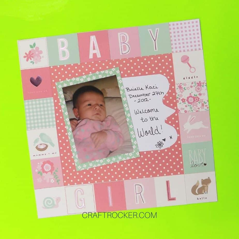 Pastel Baby Girl Scrapbook Page - Craft Rocker