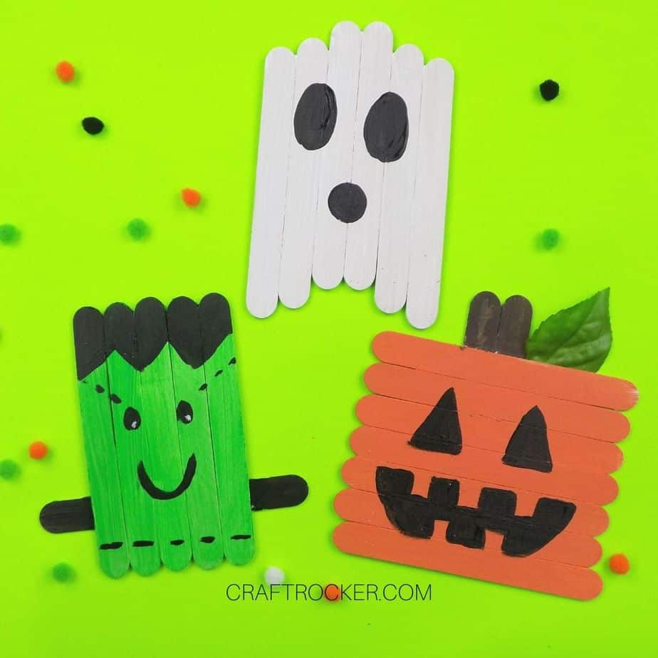 Popsicle Stick Halloween Characters on Green Background - Craft Rocker