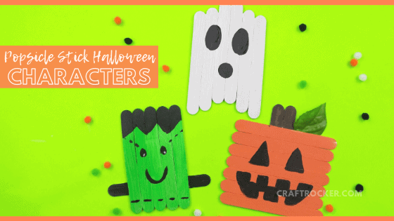 Popsicle Stick Halloween Crafts with text overlay - Popsicle Stick Halloween Characters - Craft Rocker