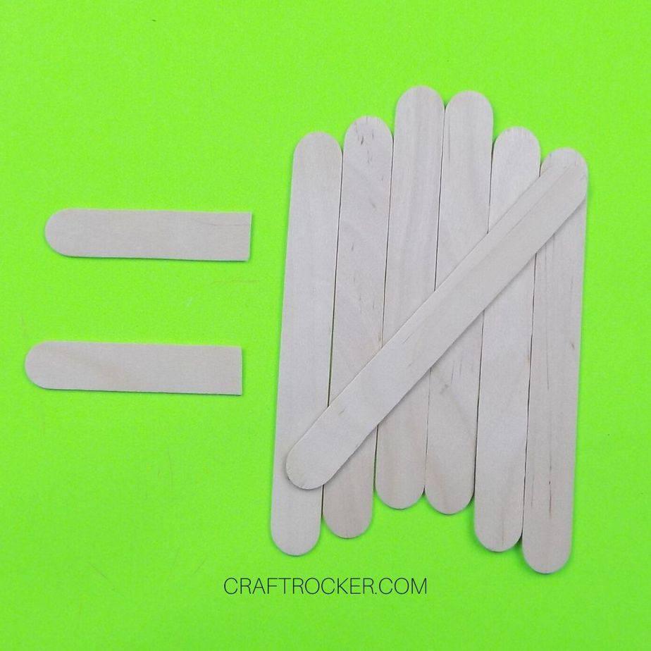 Popsicle Stick Halves next to Lined Up Sticks - Craft Rocker