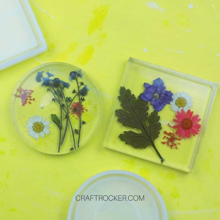 Pressed Flower Resin Coasters on Yellow Background - Craft Rocker