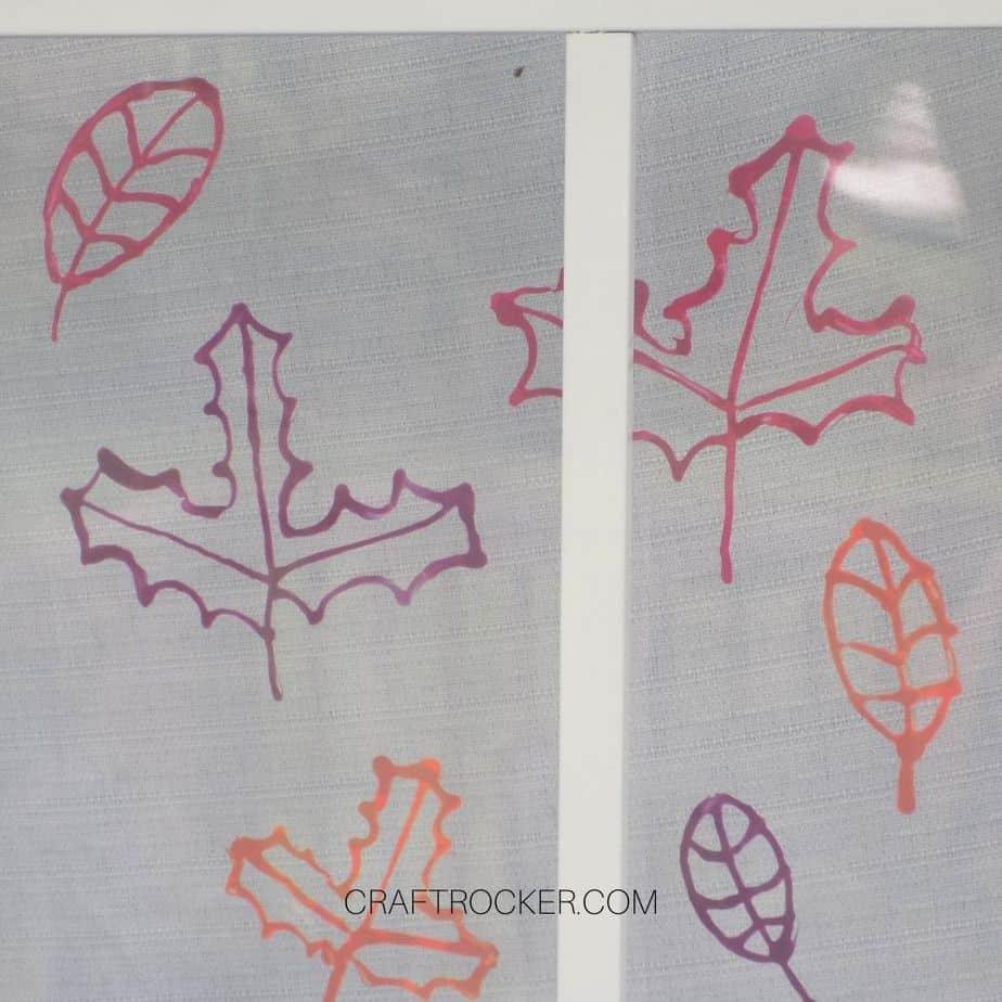 Puffy Fabric Paint Leaves on Window - Craft Rocker