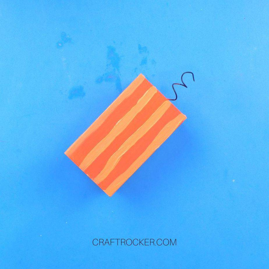 Small Orange Wood Pillar with Light Orange Vertical Lines - Craft Rocker