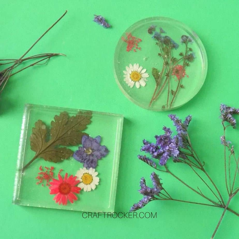 Square and Circle Pressed Flower Resin Coaster next to Flowers - Craft Rocker