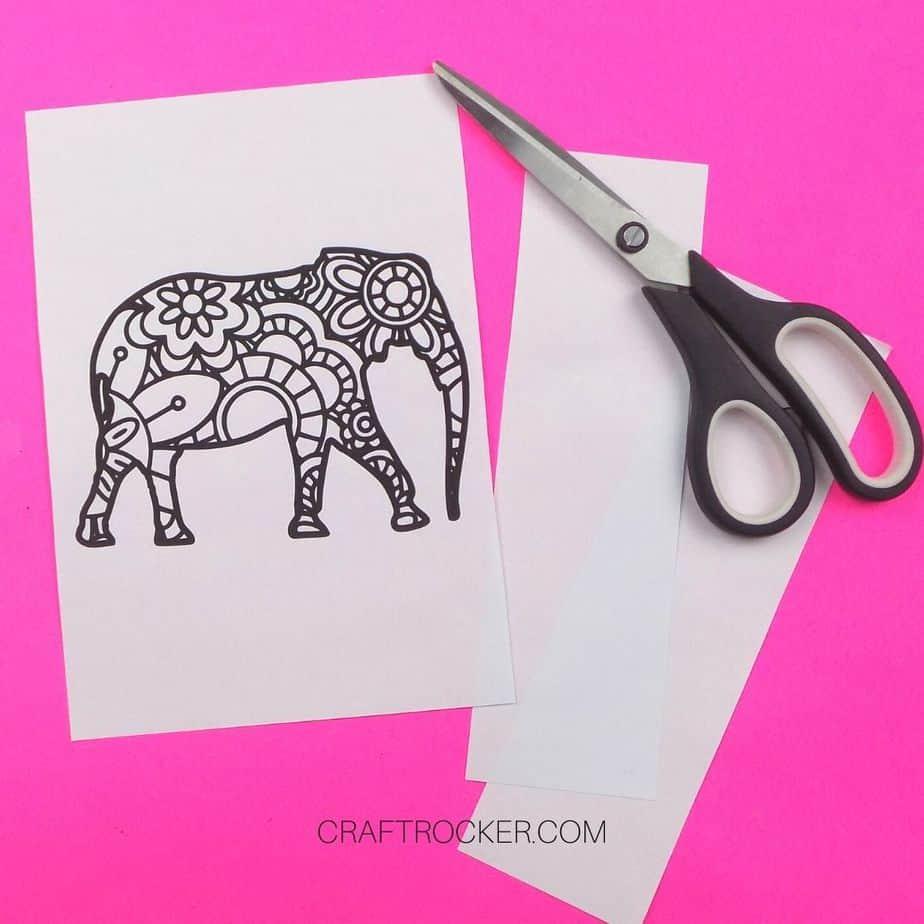 Trimmed Elephant Picture Next to Scissors - Craft Rocker
