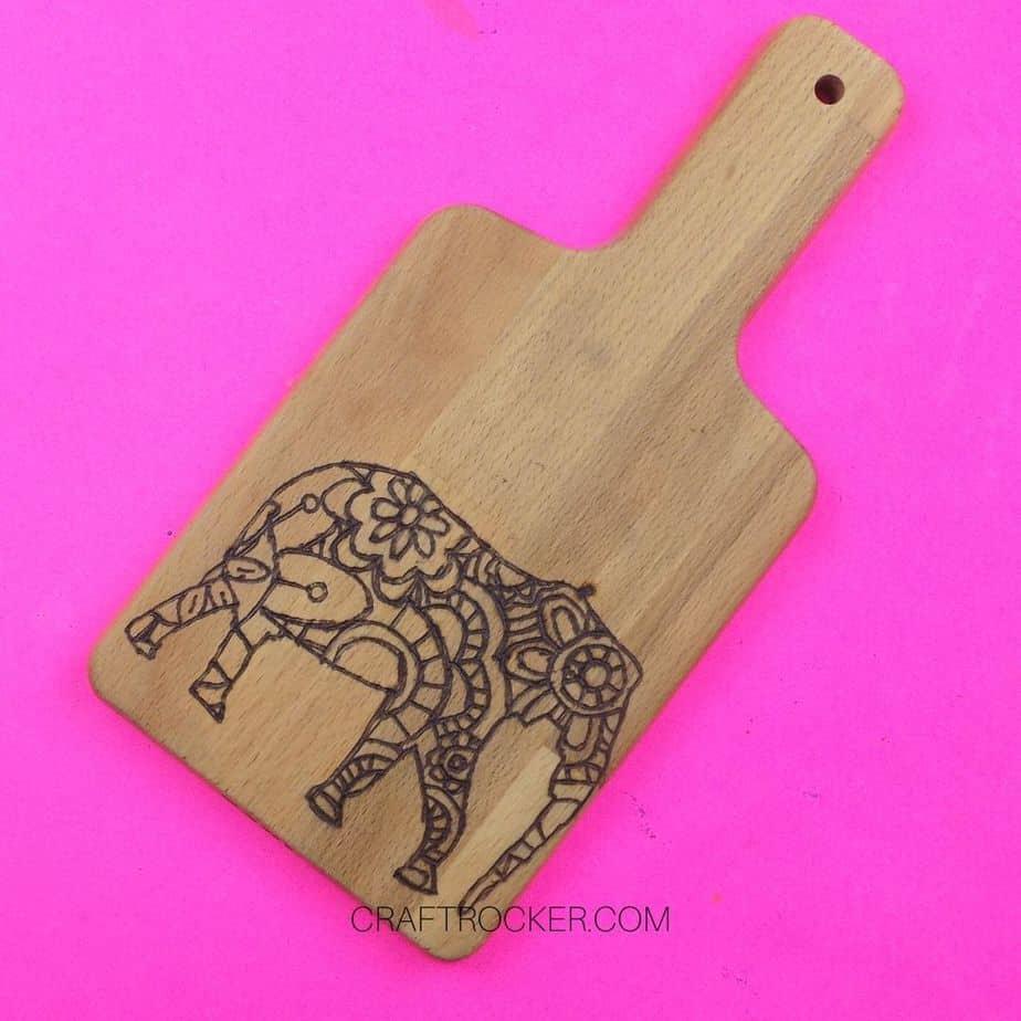 Wood Burned Elephant Design on Cutting Board - Craft Rocker