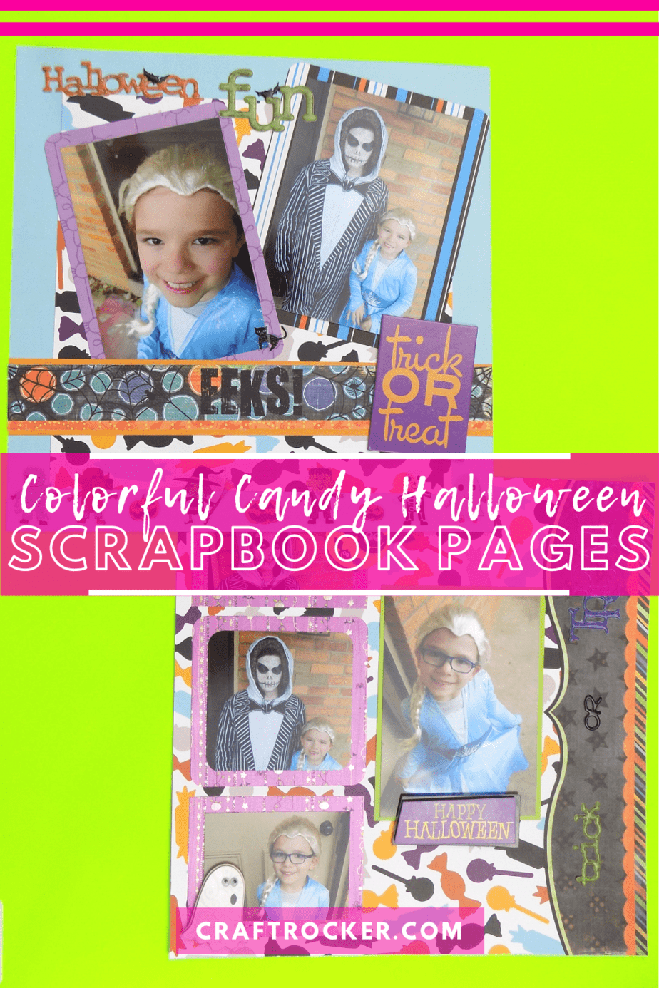 2 Scrapbook Pages with text overlay - Colorful Candy Halloween Scrapbook Pages - Craft Rocker