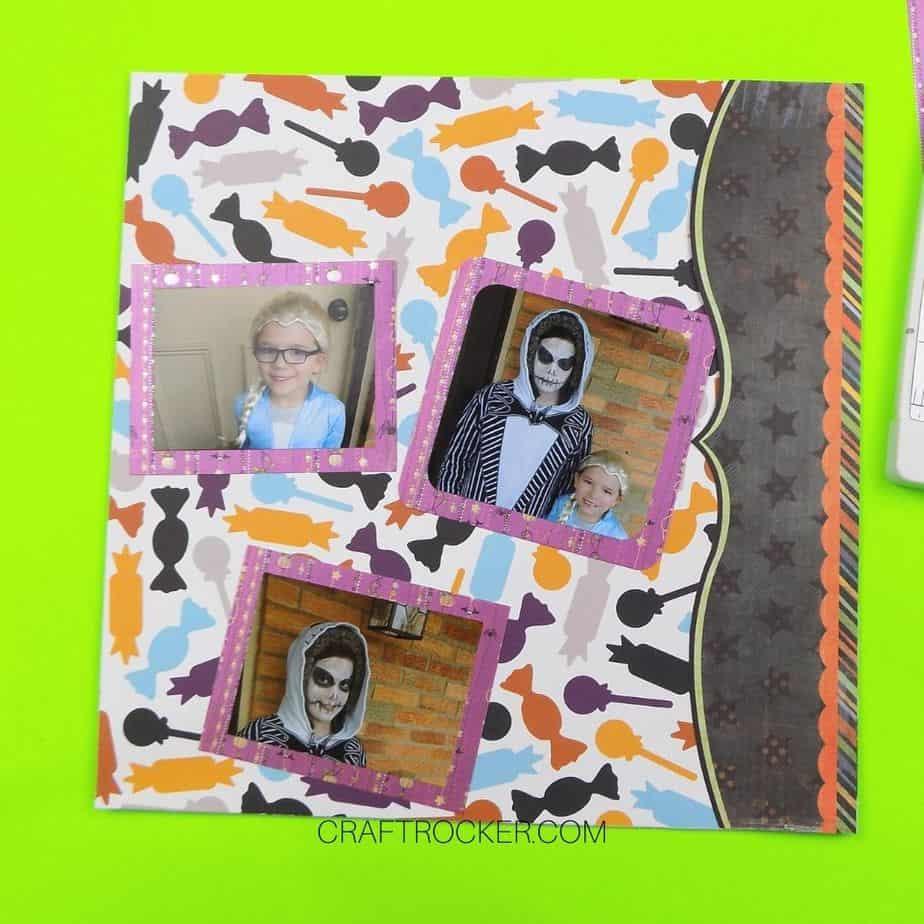 3 Matted Loose Halloween Photos on Scrapbook Page - Craft Rocker