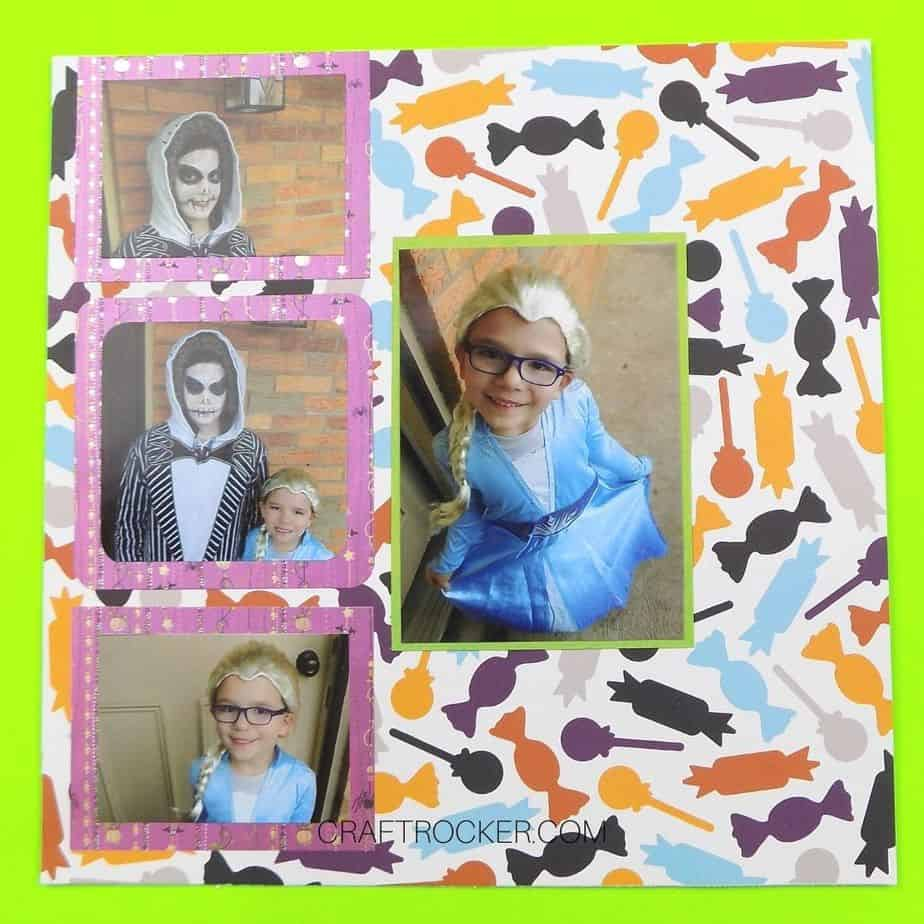 4 Matted Photos Attached to Candy Scrapbook Paper - Craft Rocker