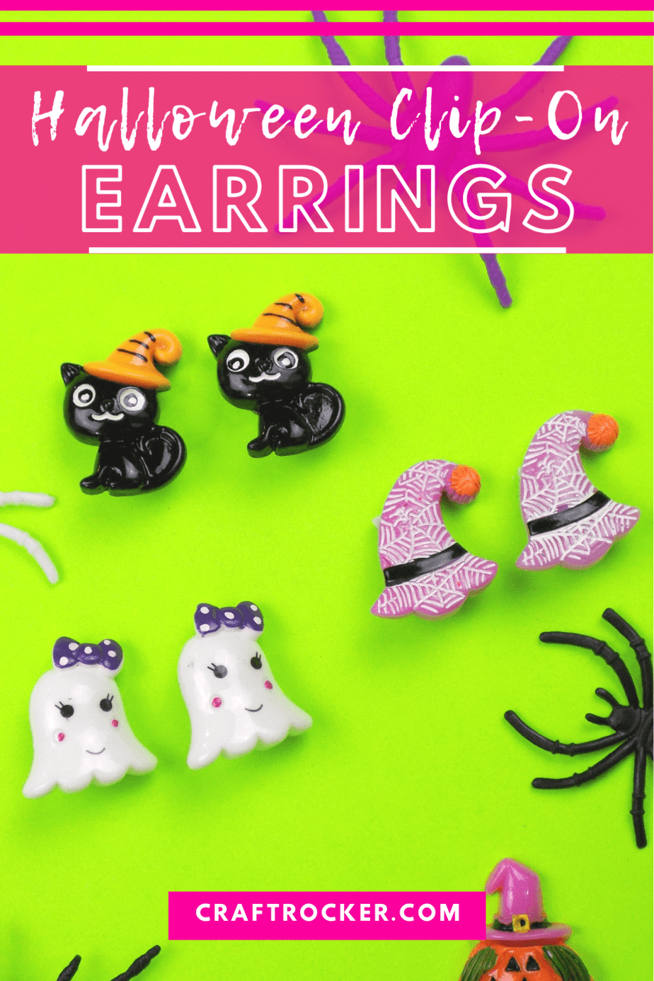 Adorable Cats Witch Hats and Ghost Earrings with text overlay - Halloween Clip-On Earrings - Craft Rocker
