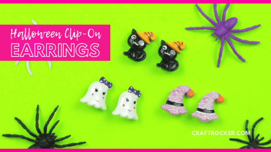 Adorable Halloween Character Earrings with text overlay - Halloween Clip-On Earrings - Craft Rocker