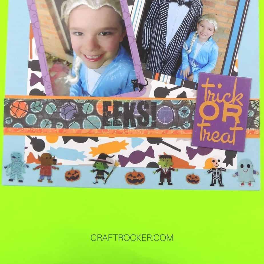 Close Up of Glitter Stickers on Bottom of Halloween Scrapbook Page - Craft Rocker