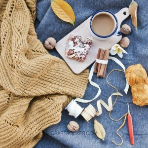 Craft Supplies and Knits next to Coffee - Craft Rocker