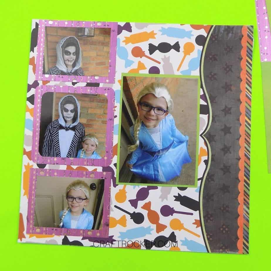 Decorative Paper Boarder on Right Side of Halloween Scrapbook Page - Craft Rocker