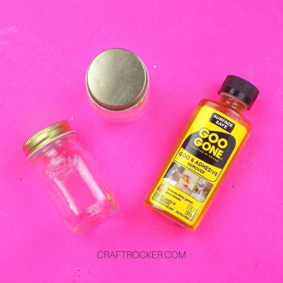 Goo Gone next to Cleaned Off Jars - Craft Rocker