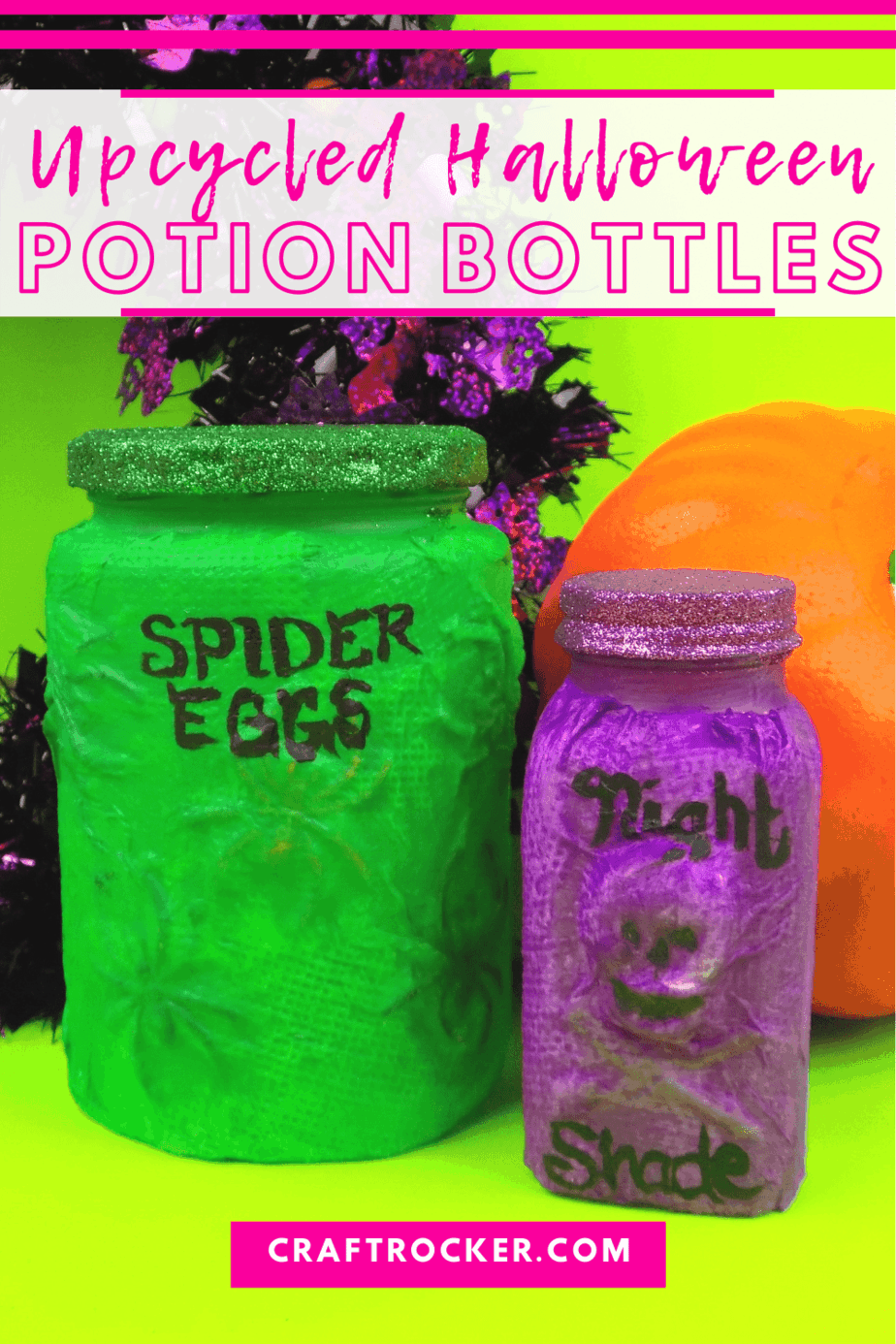 Green and Purple Halloween Jars with text overlay - Upcycled Halloween Potion Bottles - Craft Rocker