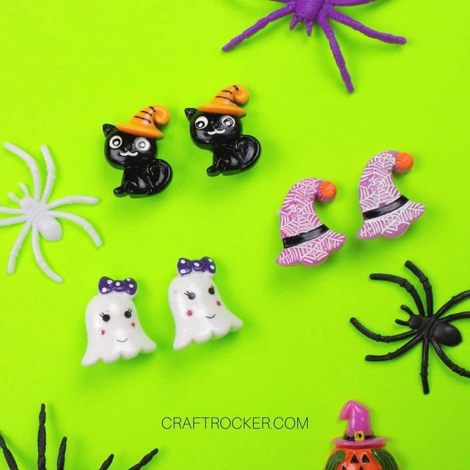 Halloween Clip-on Earrings Next to Plastic Spiders - Craft Rocker