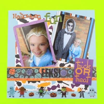 Colorful Candy Halloween Scrapbook Pages