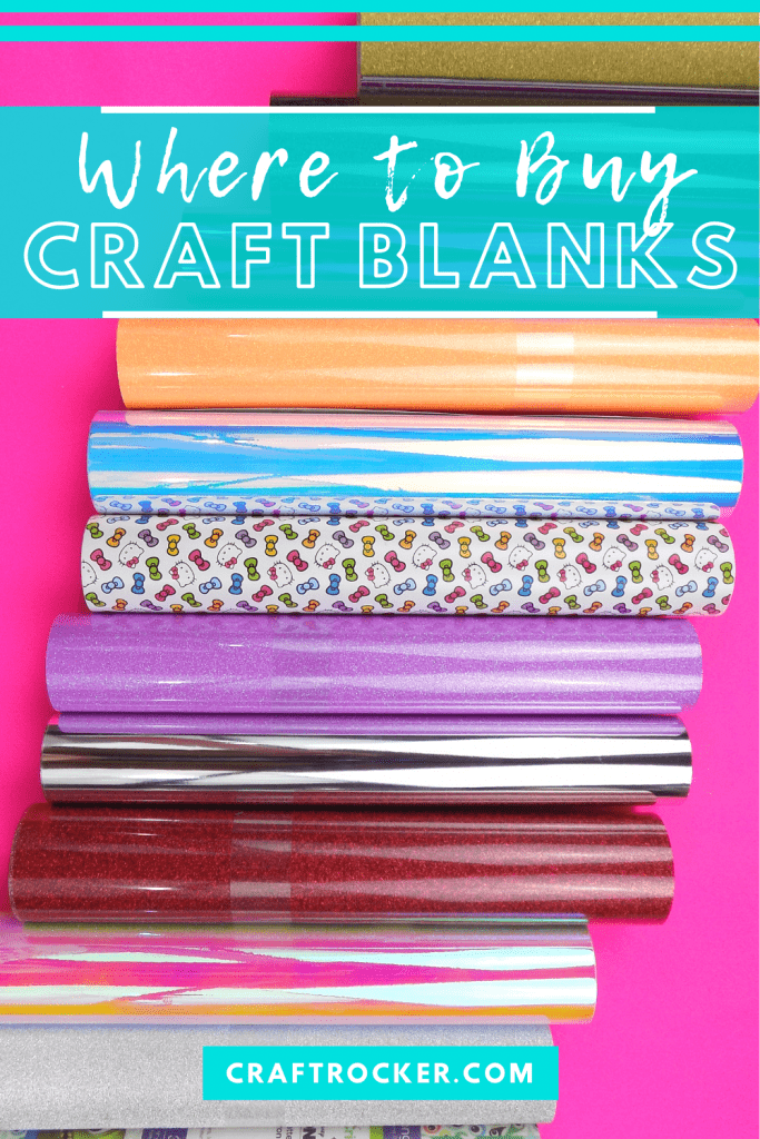 Lined Up Rolls of Vinyl with text overlay - Where to Buy Craft Blanks - Craft Rocker