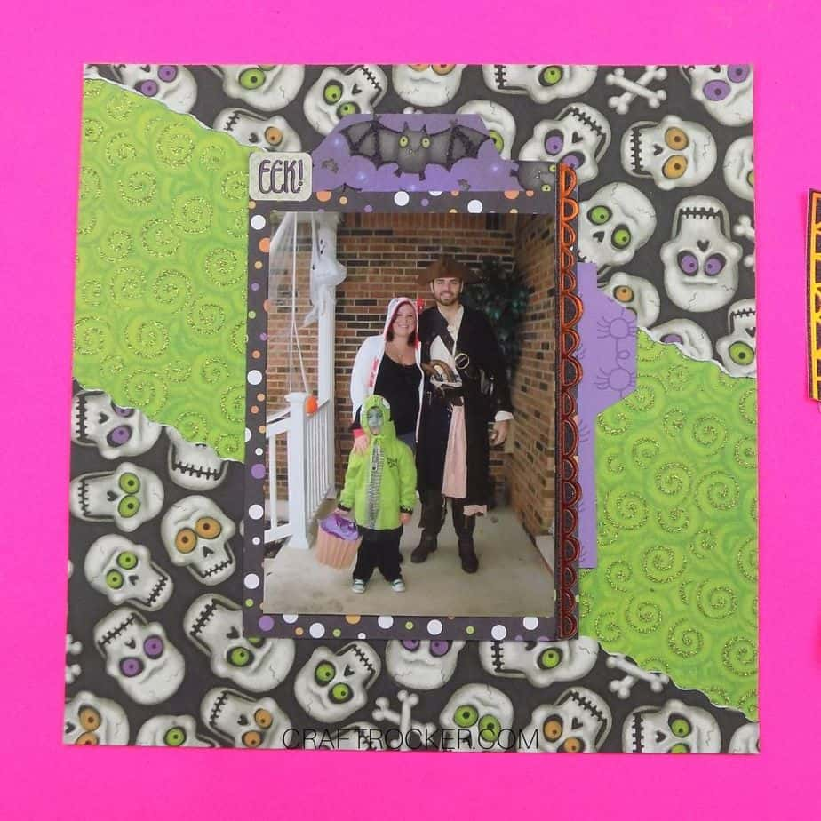 Matted 8x10 Photo with Embellishments Attached to Center of Skulls Scrapbook Page - Craft Rocker