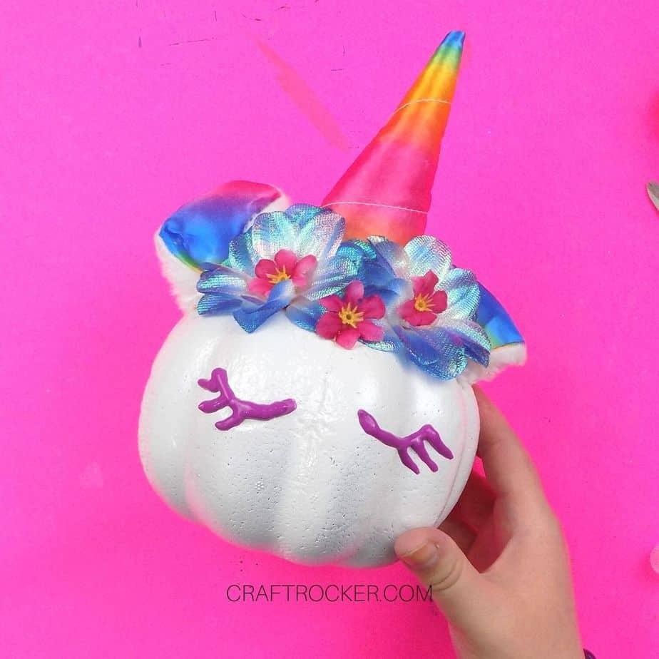 Purple Eyelashes Painted on Unicorn Pumpkin - Craft Rocker