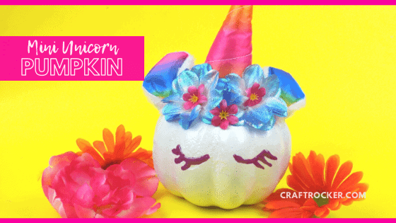 Rainbow Unicorn Pumpkin next to Flowers with text overlay - Mini Unicorn Pumpkin - Craft Rocker