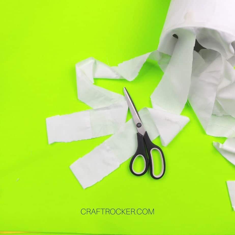 Scissors on Top of Cut Strips of Pillow Case - Craft Rocker