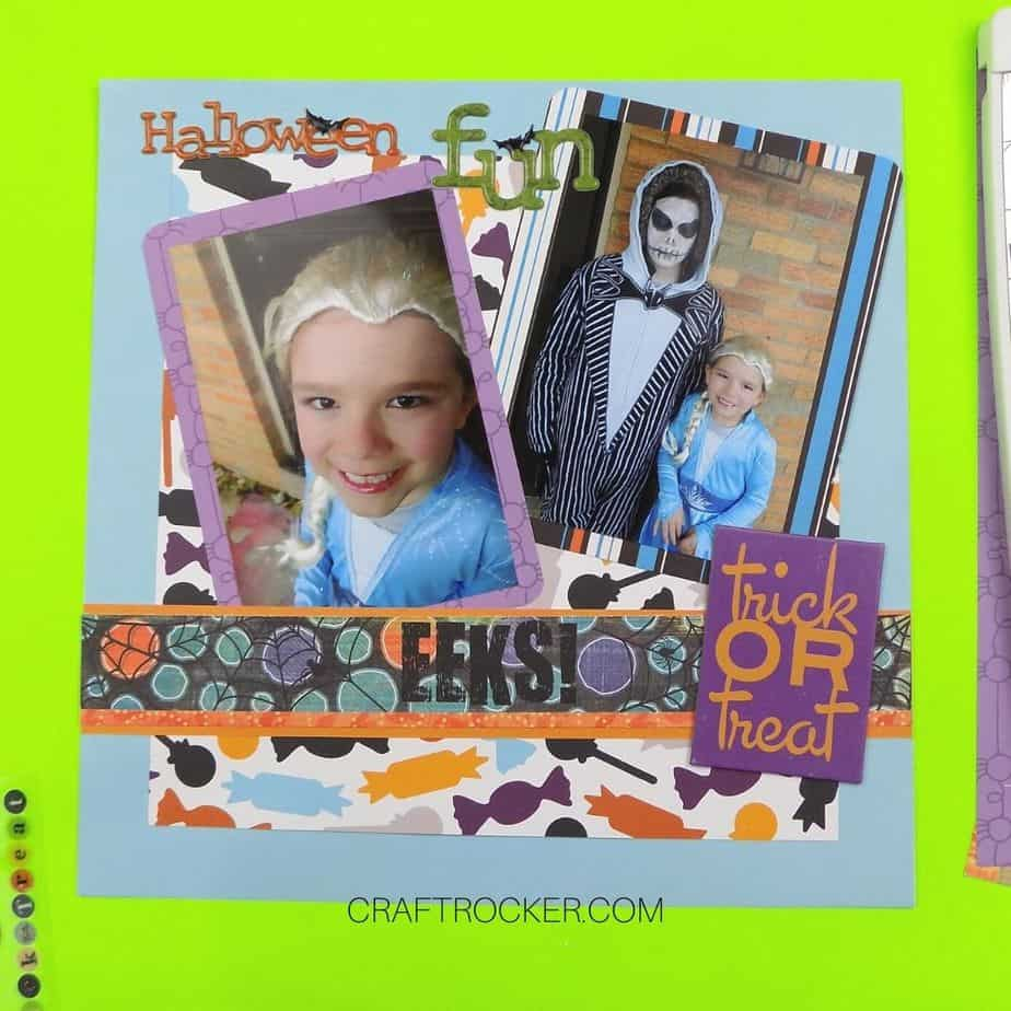 Title and Chipboard Embellishment on Halloween Scrapbook Page - Craft Rocker
